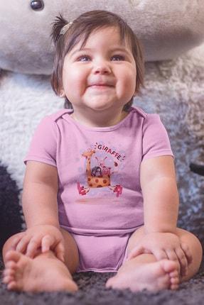 Angemiel Baby Koşan Zürafa Üzerindeki Şirin Hayvanlar Kız Bebek Zıbın Pembe 2