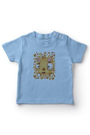 Angemiel Baby Şeker Boynuzlu Sıvı Canavar Erkek Bebek Tişört Mavi 0