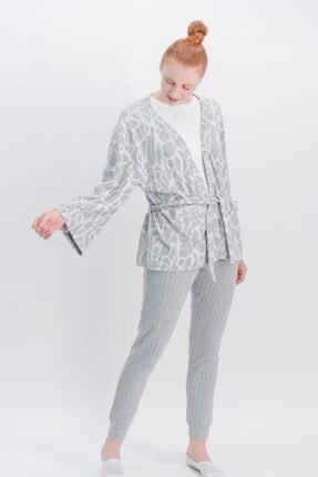 Arnetta Basic Animal Krem Kadın Pantolon, Bluz, Hırka 3'Lü Takım 0