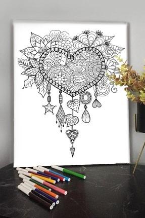 KanvasSepeti Kalp 40x30 cm Çocuklar İçin Özel Boyanabilir Tablo Tuval Mandala 12li Keçeli Kalem Hediyeli 0