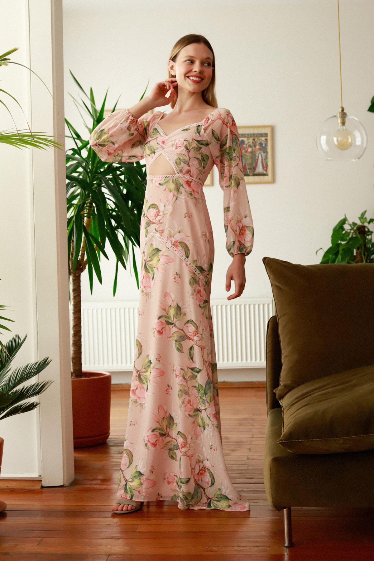 Bej Çiçek Desenli  Abiye & Mezuniyet Elbisesi TPRSS20AE0275