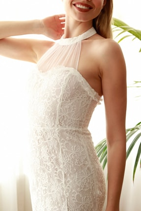 TRENDYOLMİLLA Ekru Yaka Detaylı Dantel Elbise TPRSS20EL2716 3