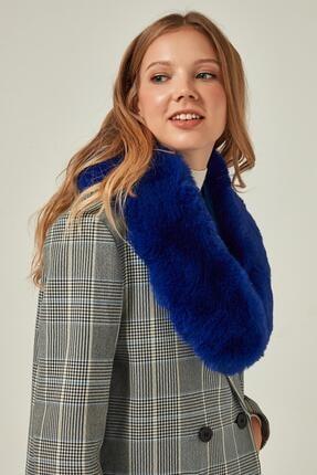Y-London Kadın Saks Mavi İçten Geçmeli  Kürk Boyunluk Atkı 11261 1