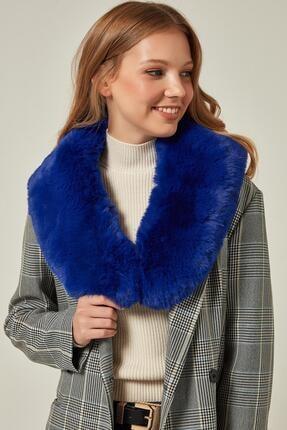 Y-London Kadın Saks Mavi İçten Geçmeli  Kürk Boyunluk Atkı 11261 2