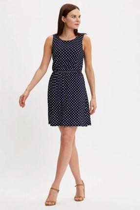 Defacto Kadın Çivit Mavisi Çiçek Desenli Belden Bağlama Detaylı Örme Elbise M9053AZ.20SM.IN59 0