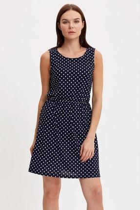 Defacto Kadın Çivit Mavisi Çiçek Desenli Belden Bağlama Detaylı Örme Elbise M9053AZ.20SM.IN59 1