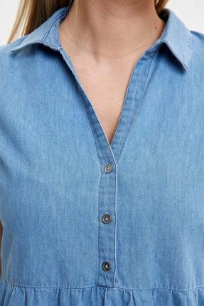 Defacto Kadın Mavi Pile Detaylı Düğmeli Regular Fit Jean Elbise O0424AZ.20SM.NM39 2