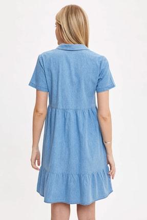 Defacto Kadın Mavi Pile Detaylı Düğmeli Regular Fit Jean Elbise O0424AZ.20SM.NM39 3