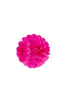 Pi İthalat Kağıt Ponpon Çiçek Asma Süsü 25 Cm - Fuşya 0