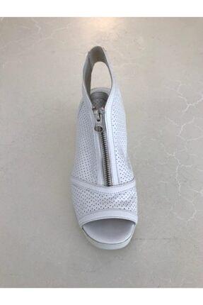 Beggi Kadın Beyaz Deri Dolgu Topuk Ayakkabı 1