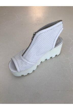 Beggi Kadın Beyaz Deri Dolgu Topuk Ayakkabı 2