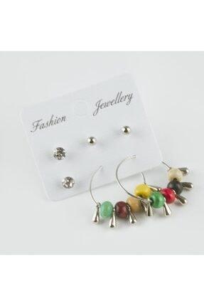 Fashion Jewellery 6'lı Taşlı Halka Küpe 0