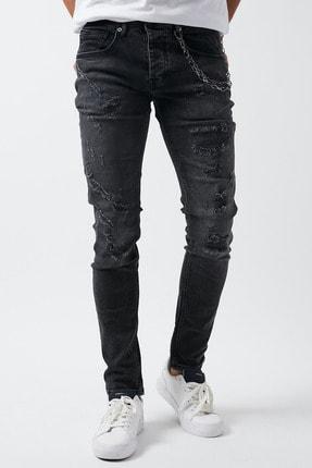 Dsquala Yırtıklı Zincirli Likralı Büyük Beden Siyah Kot Pantolon 0