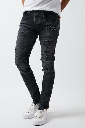 Dsquala Yırtıklı Zincirli Likralı Büyük Beden Siyah Kot Pantolon 1