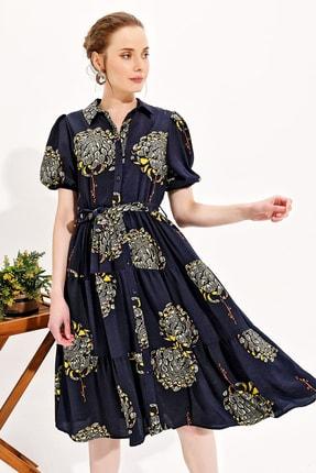 Trend Alaçatı Stili Kadın Lacivert Balon Kol Kat Kat Volanlı Dokuma Gömlek Elbise Dnz-3188 0