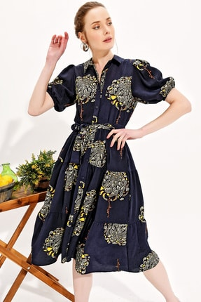 Trend Alaçatı Stili Kadın Lacivert Balon Kol Kat Kat Volanlı Dokuma Gömlek Elbise Dnz-3188 1