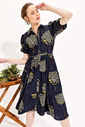 Trend Alaçatı Stili Kadın Lacivert Balon Kol Kat Kat Volanlı Dokuma Gömlek Elbise Dnz-3188 2