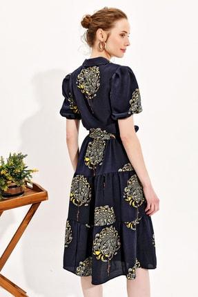 Trend Alaçatı Stili Kadın Lacivert Balon Kol Kat Kat Volanlı Dokuma Gömlek Elbise Dnz-3188 3