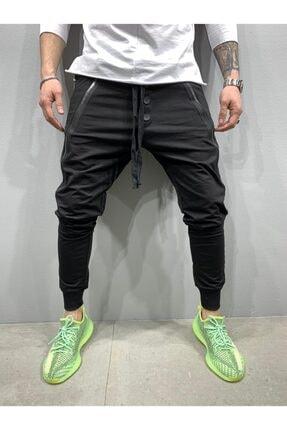 2Y PREMIUM Erkek Siyah Düğmeli Fermuarlı Jogger Pantolon 1