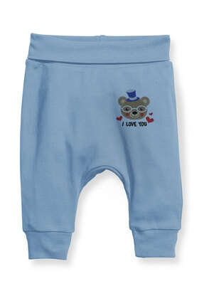 Angemiel Baby Gözlüklü Ayı Erkek Bebek Şalvar Pantalon Mavi 0