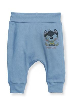 Angemiel Baby Merhaba Yazılı Köpek Erkek Bebek Şalvar Pantalon Mavi 0