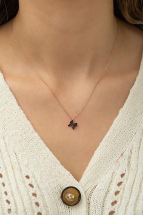 Nereze 925 Ayar Siyah Minik Kelebek Kolye Kadın Gümüş Kolye 1