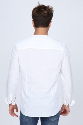 RIV/SD Rıvsd Hakim Yaka Slim Fit Beyaz Keten Dokulu Gömlek 4