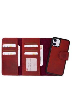 Plm Iphone 11 Santa Mw Deri Kırmızı Telefon Kılıfı 0