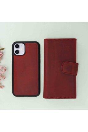 Plm Iphone 11 Santa Mw Deri Kırmızı Telefon Kılıfı 3