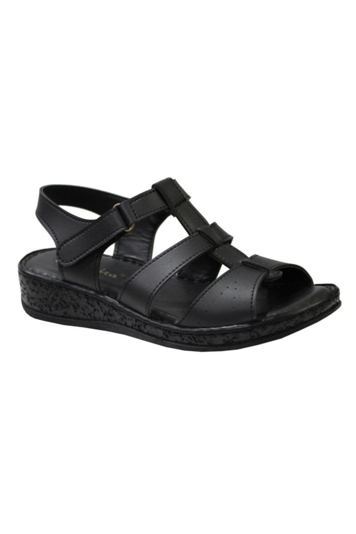 Mehmet Mete Siyah La Meira Anotomik Kadın Sandalet Ayakkabı 0262