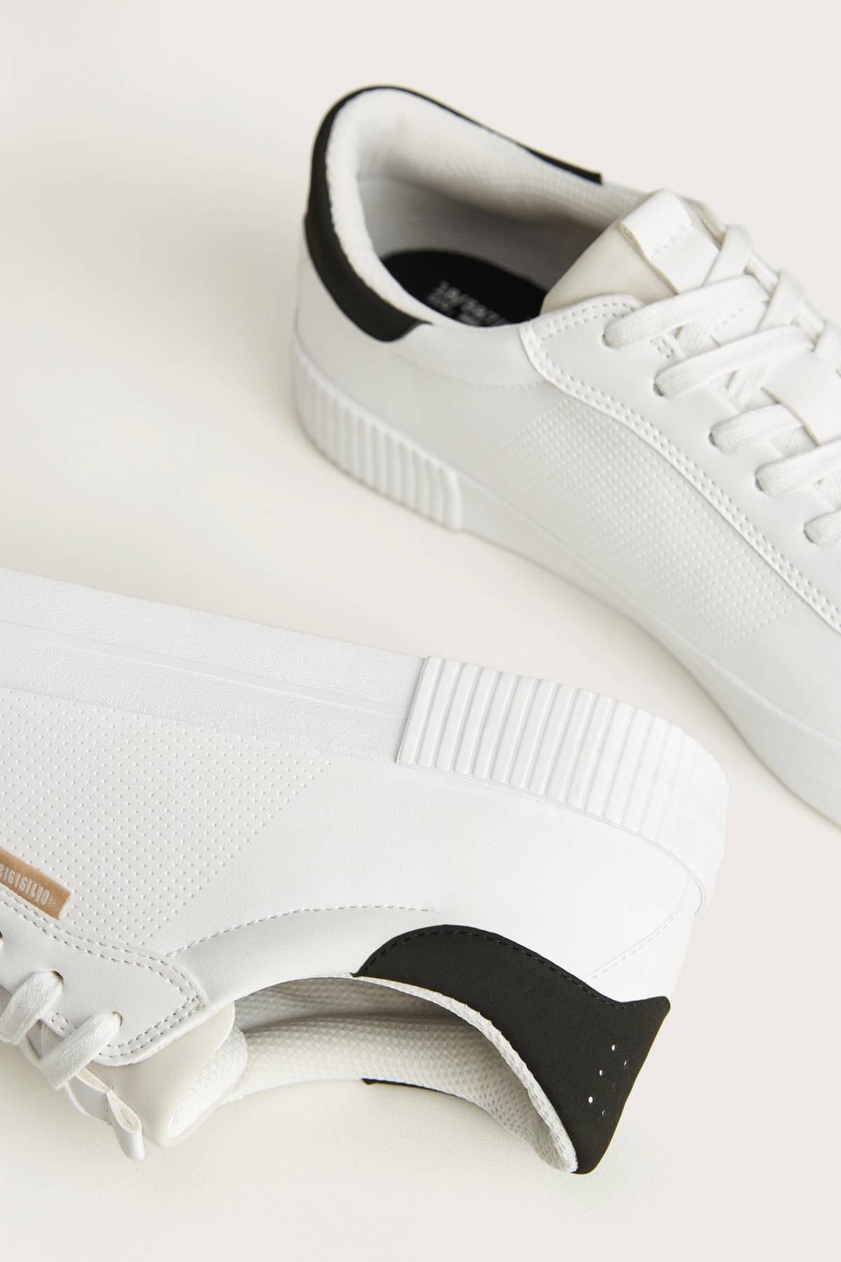 Bershka Erkek Beyaz Kontrast Spor Ayakkabı 12400660 3