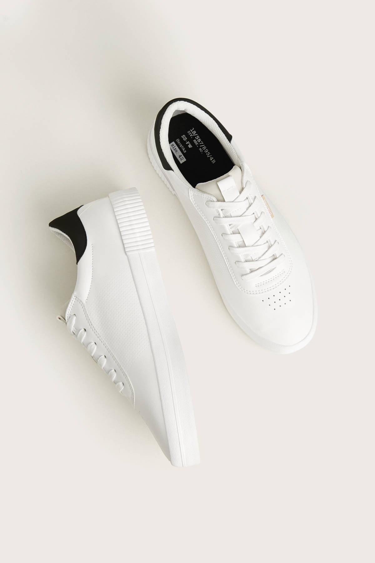Bershka Erkek Beyaz Kontrast Spor Ayakkabı 12400660 4
