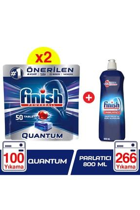 Finish Quantum 100 (50x2) Tablet Bulaşık Makinesi Deterjanı + Finish Parlatıcı 800 Ml 0