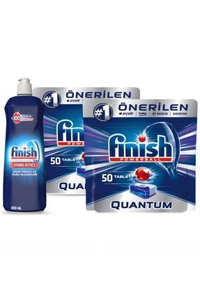 Finish Quantum 100 (50x2) Tablet Bulaşık Makinesi Deterjanı + Finish Parlatıcı 800 Ml 1