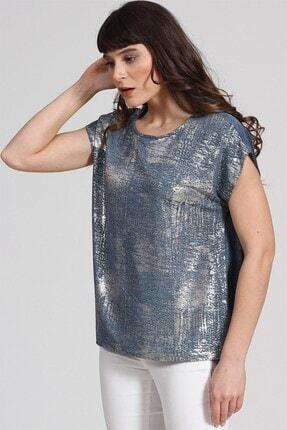 Seamoda Kolsuz Sim Baskılı T-shirt Mavi Gümüş Simli 1