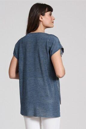 Seamoda Kolsuz Sim Baskılı T-shirt Mavi Gümüş Simli 2