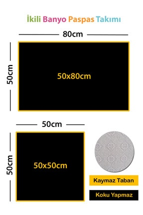 RugViva Dijital Banyo Halısı Klozet Takımı 2'li Paspas Seti Bs305 50x80cm + 50x50cm 3