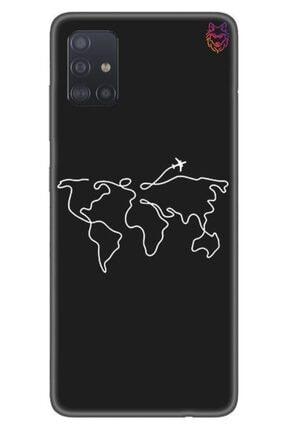Wolf Dizayn Samsung Galaxy A51 - Siyah Silikon - Aircraft Map 0
