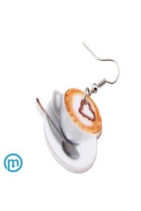 KUMI Çift Yönlü Akrilik Baskı Sallantılı Kahve Fincanı Desenli Küpe 1