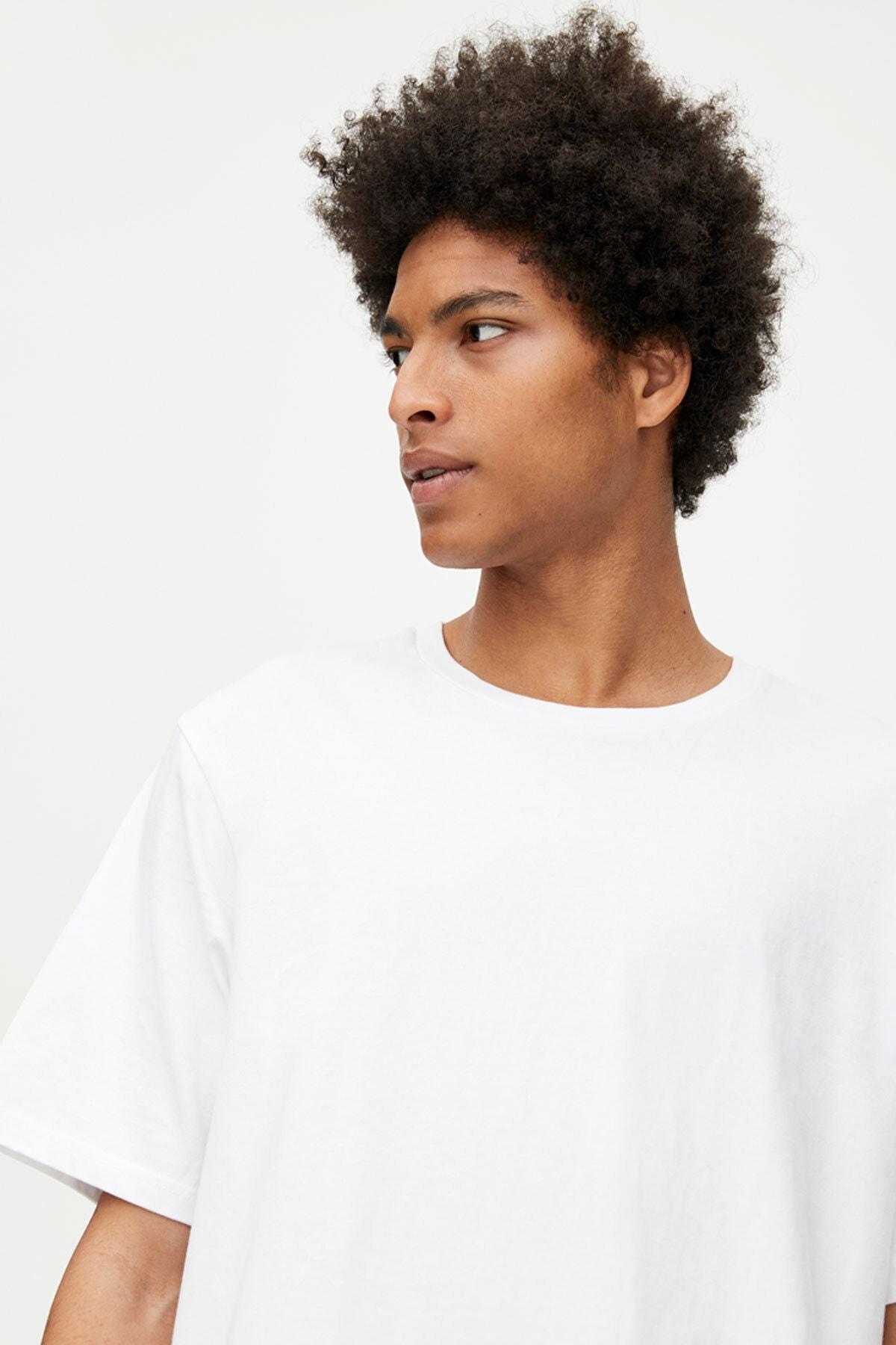 Pull & Bear Erkek Beyaz Join Life Basic T-Shirt 09244500 3