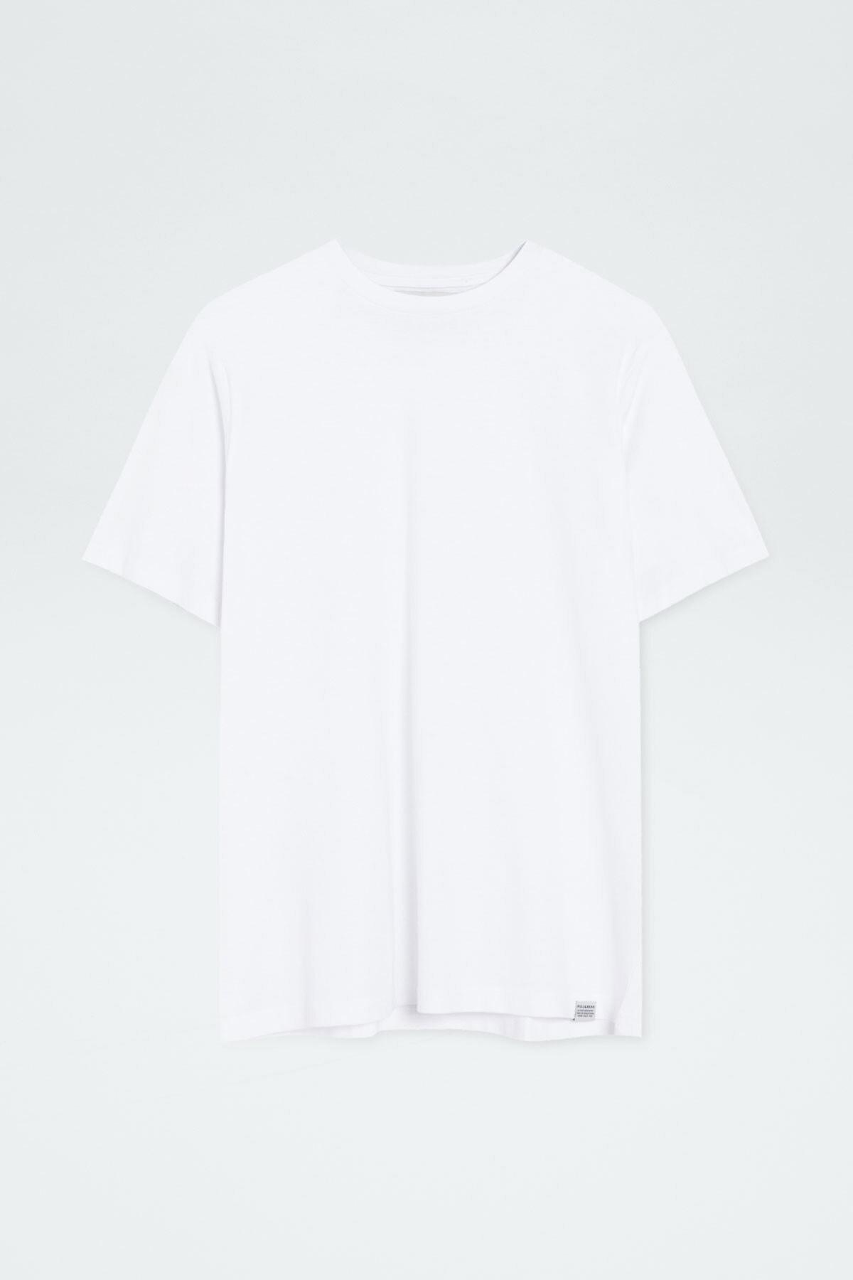 Pull & Bear Erkek Beyaz Join Life Basic T-Shirt 09244500 4
