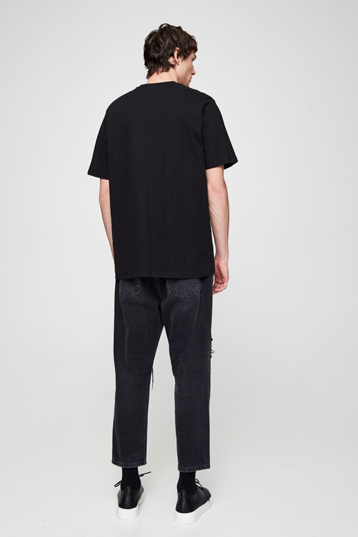 Pull & Bear Erkek Siyah Join Life Basic T-Shirt 09244500 1