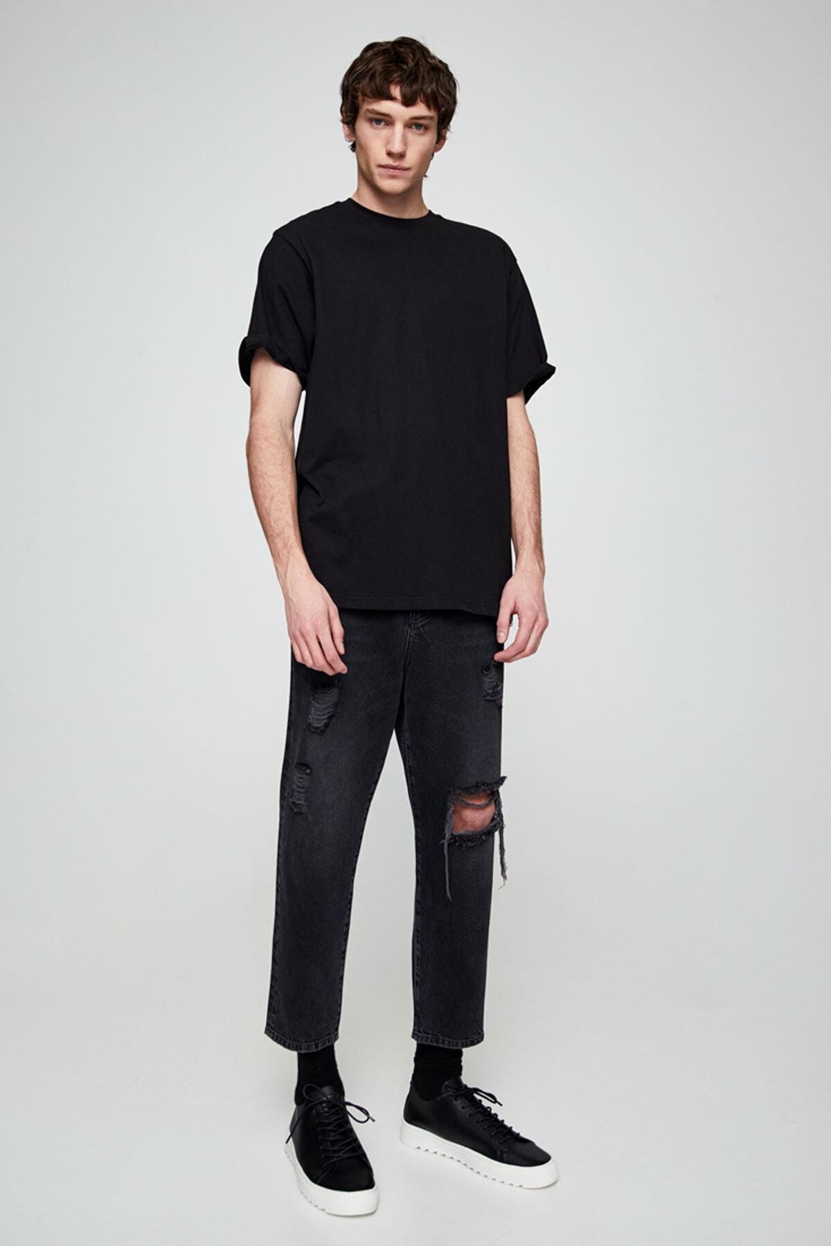 Pull & Bear Erkek Siyah Join Life Basic T-Shirt 09244500 2