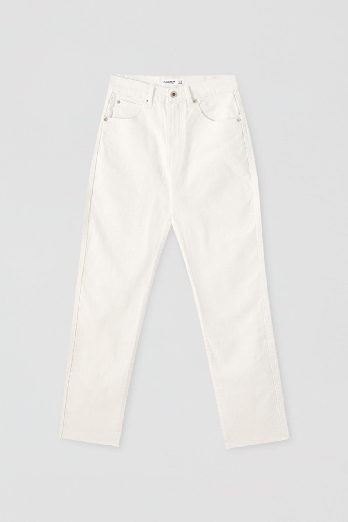 Pull & Bear Kadın Beyaz Comfort Slim Fit Mom Jean 05682305 0