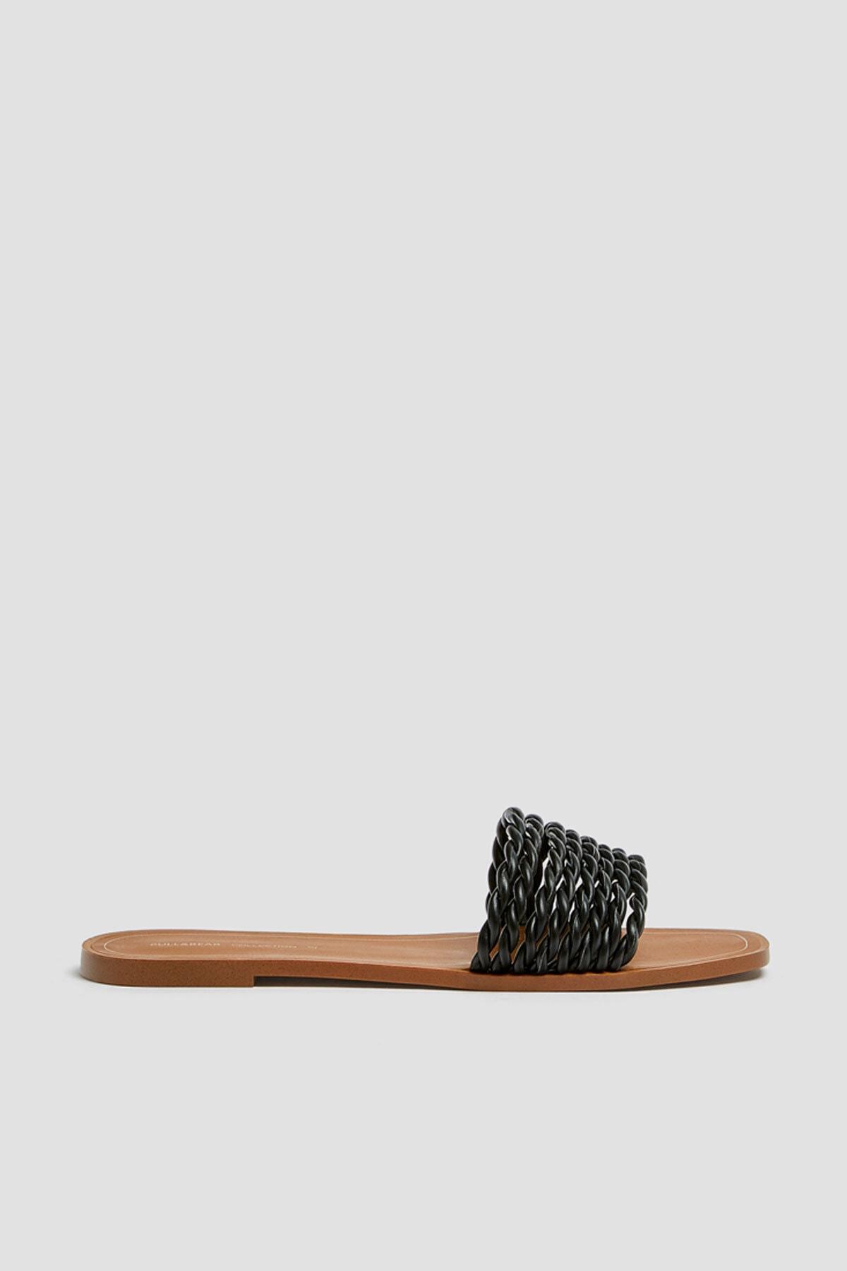 Pull & Bear Kadın Siyah Örgü Bantlı Siyah Sandalet 11557540 0