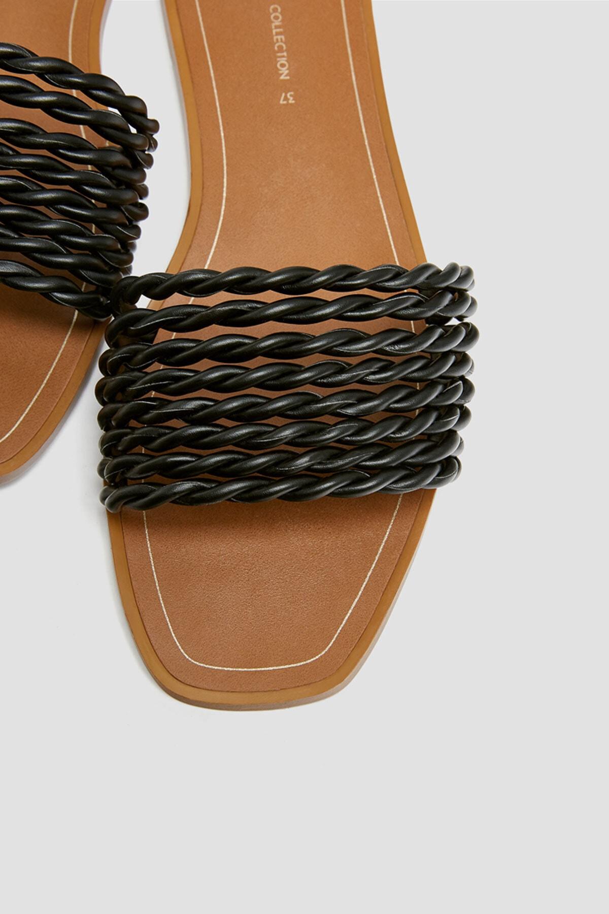 Pull & Bear Kadın Siyah Örgü Bantlı Siyah Sandalet 11557540 4