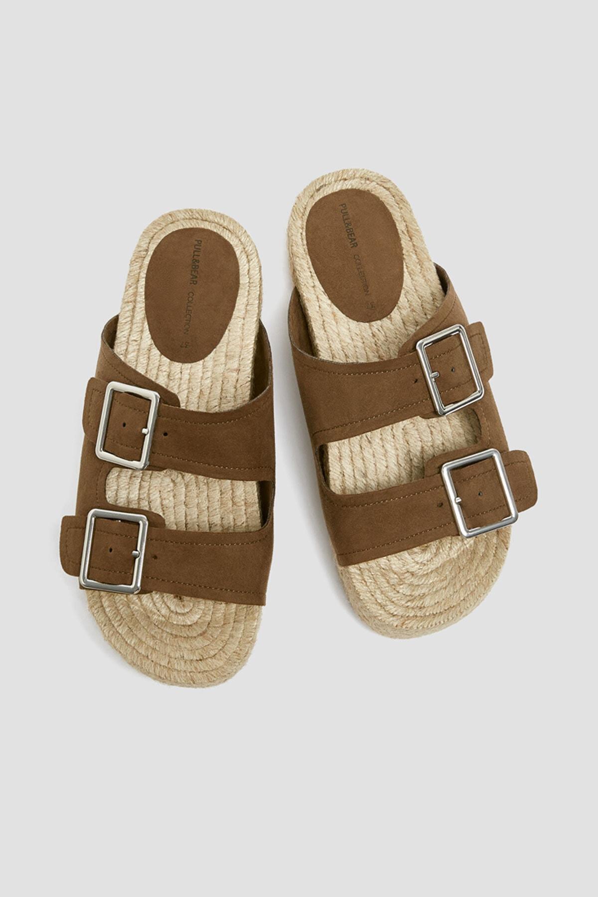 Pull & Bear Kadın Haki Tokalı Jüt Tabanlı Sandalet 11662540 2
