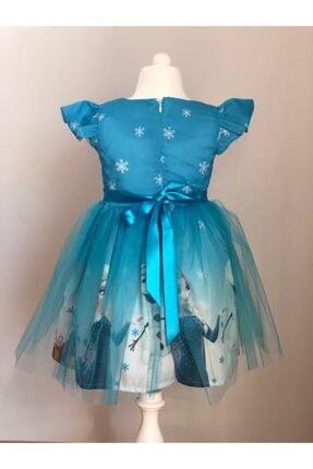 Buse&Eylül Bebe Mavi Elsa Karlar Kraliçesi Kız Çocuk Elbisesi 1