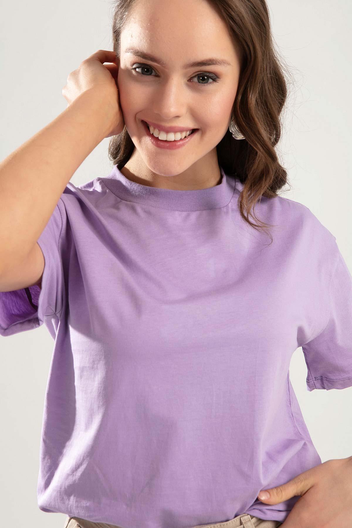 Pattaya Kadın Lila Dik Yaka Basic Tişört PTTY20S-701 1
