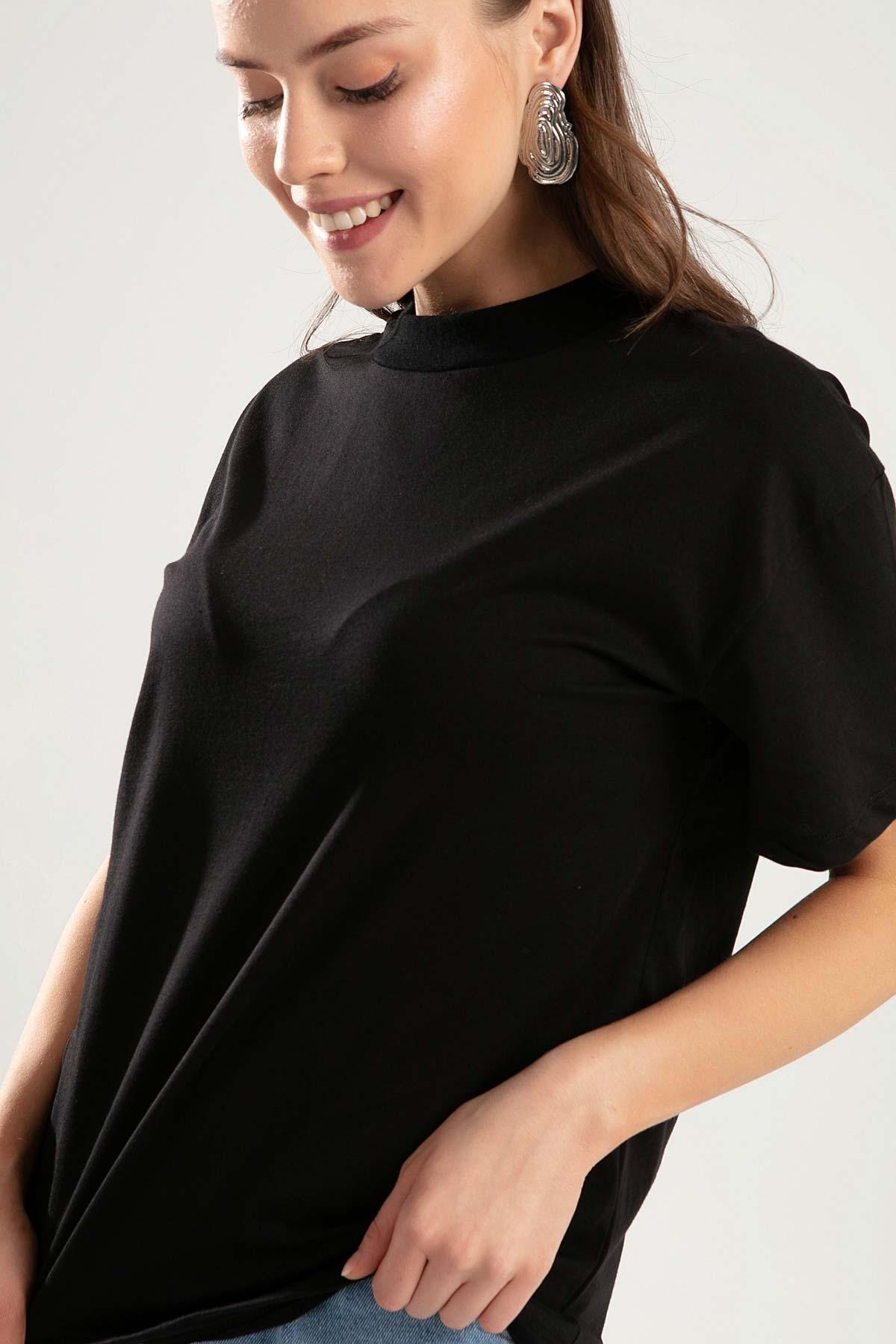 Pattaya Kadın Siyah Dik Yaka Basic Tişört PTTY20S-701 2